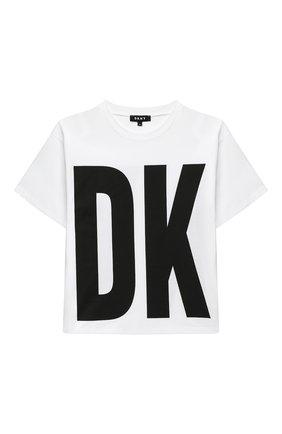 Детская хлопковая футболка DKNY белого цвета, арт. D35Q84 | Фото 1