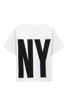 Детская хлопковая футболка DKNY белого цвета, арт. D35Q84 | Фото 2