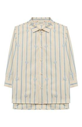 Детская хлопковая рубашка GUCCI голубого цвета, арт. 626679/XWAKY | Фото 1