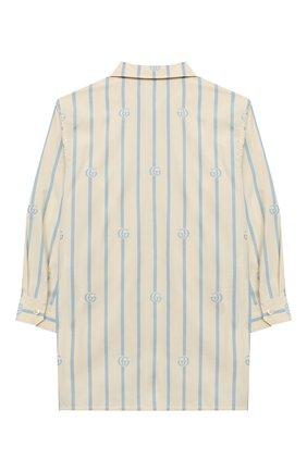 Детская хлопковая рубашка GUCCI голубого цвета, арт. 626679/XWAKY | Фото 2