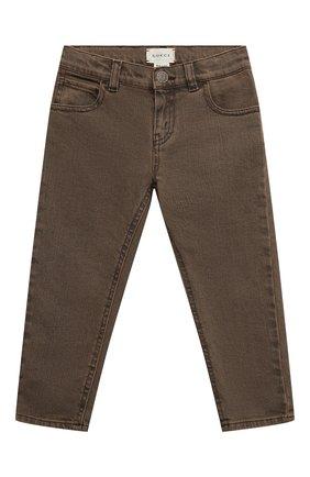 Детские джинсы GUCCI коричневого цвета, арт. 540432/XDBAS | Фото 1 (Материал внешний: Хлопок; Ростовка одежда: 10 - 11 лет | 140 - 146см, 12 лет | 152 см, 4 года | 104 см, 5 лет | 110 см, 6 лет | 116 см, 8 лет | 128 см)