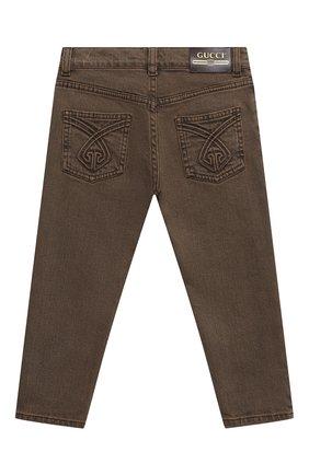 Детские джинсы GUCCI коричневого цвета, арт. 540432/XDBAS | Фото 2 (Материал внешний: Хлопок; Ростовка одежда: 10 - 11 лет | 140 - 146см, 12 лет | 152 см, 4 года | 104 см, 5 лет | 110 см, 6 лет | 116 см, 8 лет | 128 см)