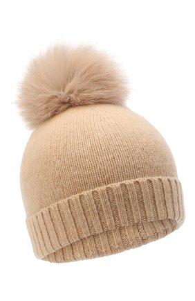 Детского кашемировая шапка GIORGETTI CASHMERE бежевого цвета, арт. MB1693/TU/12A | Фото 1 (Материал: Шерсть, Кашемир)