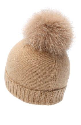 Детского кашемировая шапка GIORGETTI CASHMERE бежевого цвета, арт. MB1693/TU/12A | Фото 2 (Материал: Шерсть, Кашемир)