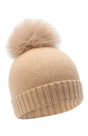 Детского кашемировая шапка GIORGETTI CASHMERE бежевого цвета, арт. MB1693/TU/8A | Фото 1 (Материал: Шерсть, Кашемир)
