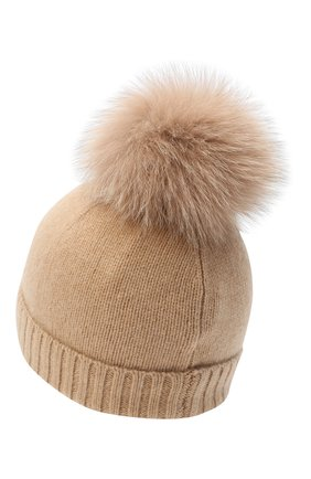 Детского кашемировая шапка GIORGETTI CASHMERE бежевого цвета, арт. MB1693/TU/8A | Фото 2 (Материал: Шерсть, Кашемир)