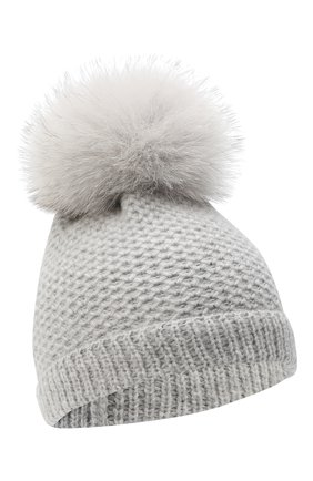 Детского кашемировая шапка GIORGETTI CASHMERE светло-серого цвета, арт. MB1695/V0LPE/4A | Фото 1 (Материал: Кашемир, Шерсть)