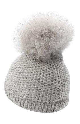 Детского кашемировая шапка GIORGETTI CASHMERE светло-серого цвета, арт. MB1695/V0LPE/4A | Фото 2 (Материал: Кашемир, Шерсть)