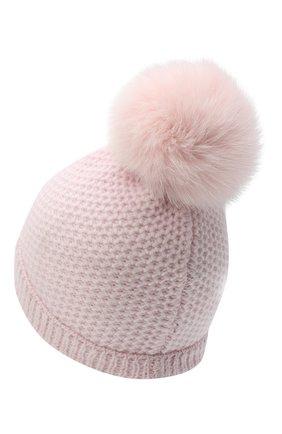 Детского кашемировая шапка GIORGETTI CASHMERE розового цвета, арт. MB1695/V0LPE/8A | Фото 2 (Материал: Кашемир, Шерсть)