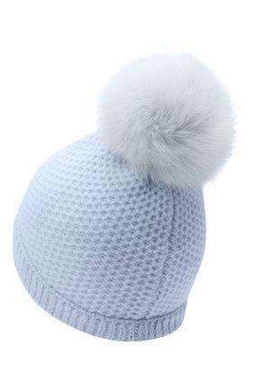 Детского кашемировая шапка GIORGETTI CASHMERE голубого цвета, арт. MB1695/V0LPE/8A   Фото 2