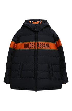 Детский пуховая куртка DOLCE & GABBANA темно-синего цвета, арт. L4JB1P/G7WWL/8-14   Фото 1