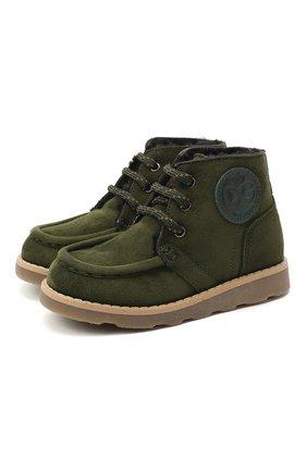 Детские замшевые ботинки DOLCE & GABBANA зеленого цвета, арт. DA0953/A1275/24-28 | Фото 1
