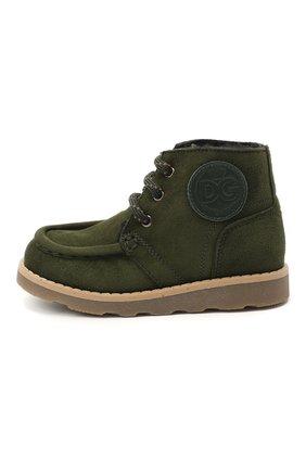 Детские замшевые ботинки DOLCE & GABBANA зеленого цвета, арт. DA0953/A1275/24-28 | Фото 2