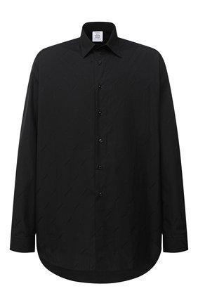 Мужская хлопковая рубашка VETEMENTS черного цвета, арт. UAH21SH143 1006/M   Фото 1 (Материал внешний: Хлопок; Рукава: Длинные; Случай: Повседневный; Стили: Минимализм; Воротник: Кент; Манжеты: На пуговицах; Мужское Кросс-КТ: Рубашка-одежда; Принт: Однотонные; Длина (для топов): Удлиненные)