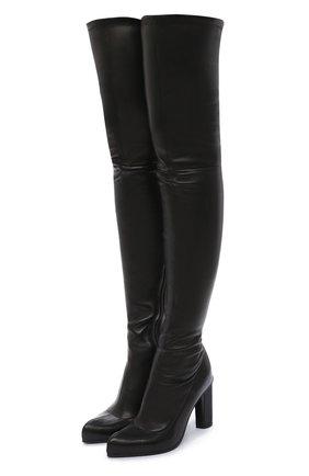 Женские кожаные ботфорты ALEXANDER MCQUEEN черного цвета, арт. 641882/WHSS1   Фото 1