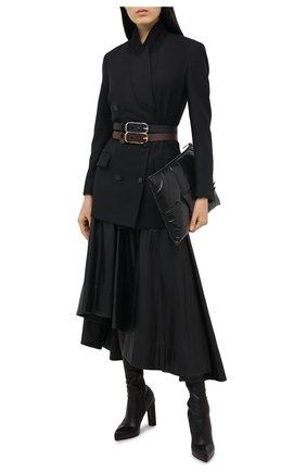 Женские кожаные ботфорты ALEXANDER MCQUEEN черного цвета, арт. 641882/WHSS1   Фото 2