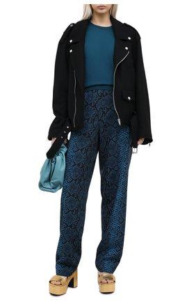 Женский шерстяной пуловер DRIES VAN NOTEN бирюзового цвета, арт. 202-11293-1700 | Фото 2