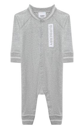 Детский хлопковый комбинезон BURBERRY серого цвета, арт. 8029856 | Фото 1
