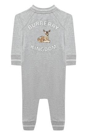 Детский хлопковый комбинезон BURBERRY серого цвета, арт. 8029856 | Фото 2