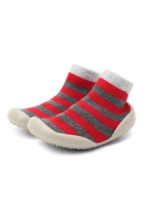 Детского домашние туфли COLLEGIEN красного цвета, арт. 554C/18-35 | Фото 1 (Материал внутренний: Текстиль; Материал внешний: Текстиль; Кросс-КТ: носочки)