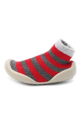 Детского домашние туфли COLLEGIEN красного цвета, арт. 554C/18-35 | Фото 2 (Материал внутренний: Текстиль; Материал внешний: Текстиль; Кросс-КТ: носочки)