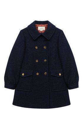 Детское шерстяное пальто GUCCI синего цвета, арт. 622836/XWALD   Фото 1
