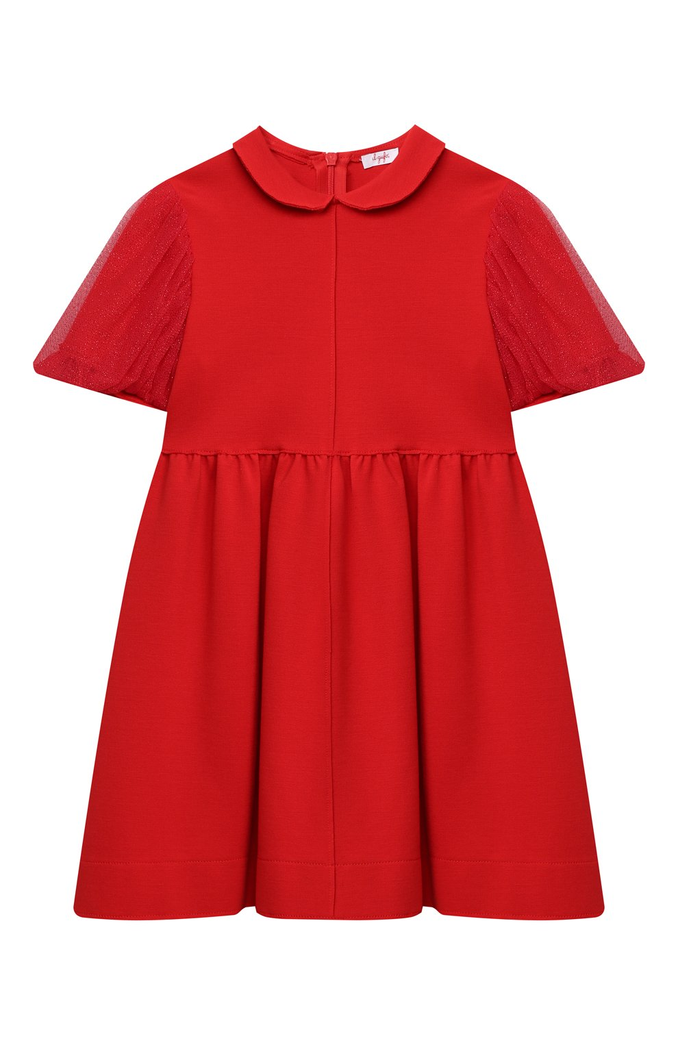 Детское платье IL GUFO красного цвета, арт. A20VM597M0041/5A-8A | Фото 1 (Рукава: Короткие; Случай: Повседневный; Материал внешний: Вискоза; Девочки Кросс-КТ: Платье-одежда)