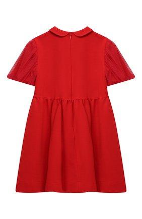Детское платье IL GUFO красного цвета, арт. A20VM597M0041/5A-8A | Фото 2 (Рукава: Короткие; Случай: Повседневный; Материал внешний: Вискоза; Девочки Кросс-КТ: Платье-одежда)