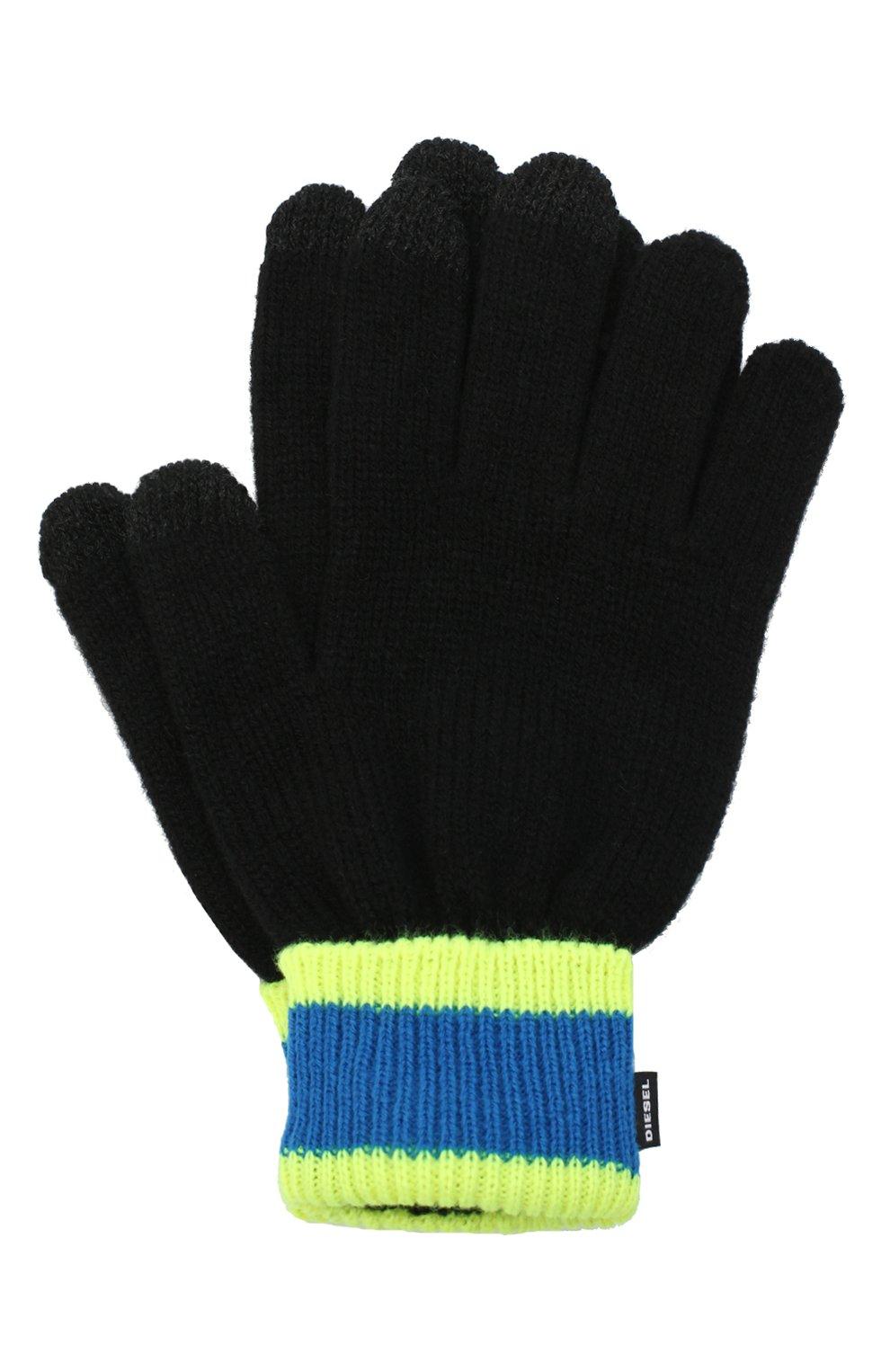 Детские перчатки DIESEL черного цвета, арт. 00J52E-KYAQZ | Фото 1