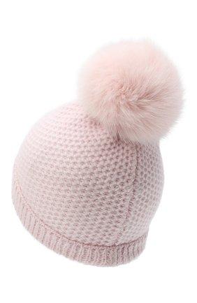 Детского кашемировая шапка GIORGETTI CASHMERE розового цвета, арт. MB1695/V0LPE/12A | Фото 2 (Материал: Кашемир, Шерсть)