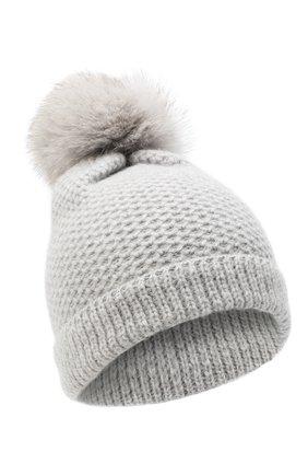 Детского кашемировая шапка GIORGETTI CASHMERE светло-серого цвета, арт. MB1695/V0LPE/12A | Фото 1 (Материал: Кашемир, Шерсть)