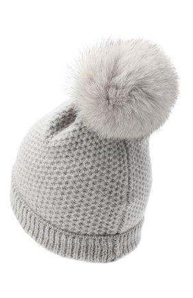 Детского кашемировая шапка GIORGETTI CASHMERE светло-серого цвета, арт. MB1695/V0LPE/12A | Фото 2 (Материал: Кашемир, Шерсть)