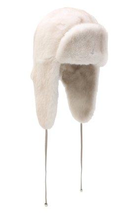 Женская норковая шапка-ушанка KUSSENKOVV светло-бежевого цвета, арт. 92000024094 | Фото 1