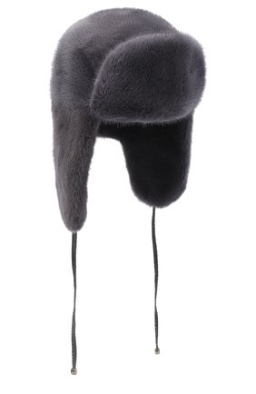 Женский норковая шапка-ушанка KUSSENKOVV серого цвета, арт. 90100008093 | Фото 1