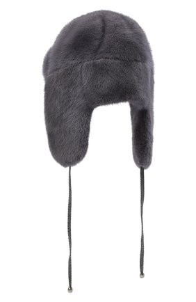 Женский норковая шапка-ушанка KUSSENKOVV серого цвета, арт. 90100008093 | Фото 2