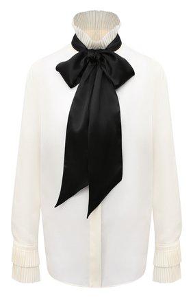 Женская шелковая блузка RALPH LAUREN кремвого цвета, арт. 290824561 | Фото 1 (Длина (для топов): Стандартные; Материал внешний: Шелк; Рукава: Длинные; Женское Кросс-КТ: Блуза-одежда; Принт: Без принта; Стили: Романтичный)