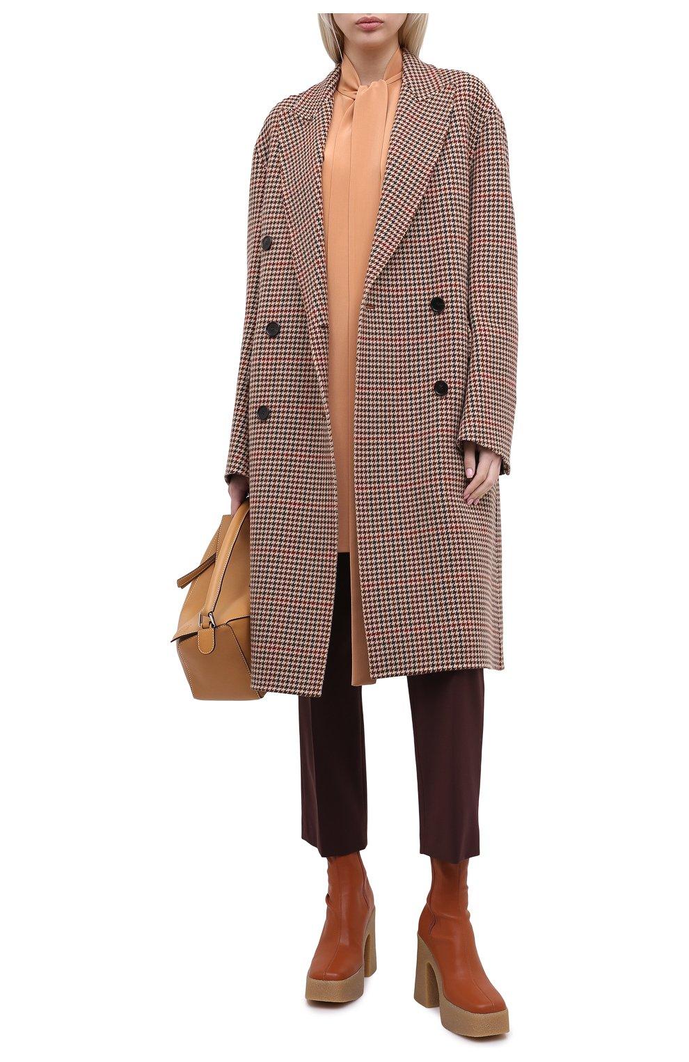 Женское шерстяное пальто JOSEPH коричневого цвета, арт. JF004861 | Фото 2 (Материал внешний: Шерсть; Рукава: Длинные; Длина (верхняя одежда): До колена; Стили: Классический)