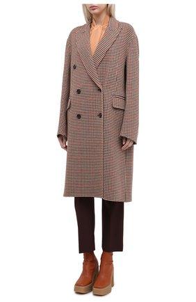Женское шерстяное пальто JOSEPH коричневого цвета, арт. JF004861 | Фото 3 (Материал внешний: Шерсть; Рукава: Длинные; Длина (верхняя одежда): До колена; Стили: Классический)