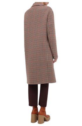 Женское шерстяное пальто JOSEPH коричневого цвета, арт. JF004861 | Фото 4 (Материал внешний: Шерсть; Рукава: Длинные; Длина (верхняя одежда): До колена; Стили: Классический)