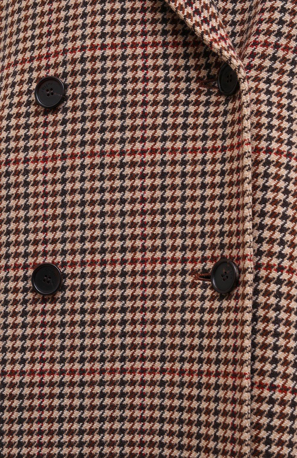 Женское шерстяное пальто JOSEPH коричневого цвета, арт. JF004861 | Фото 5 (Материал внешний: Шерсть; Рукава: Длинные; Длина (верхняя одежда): До колена; Стили: Классический)