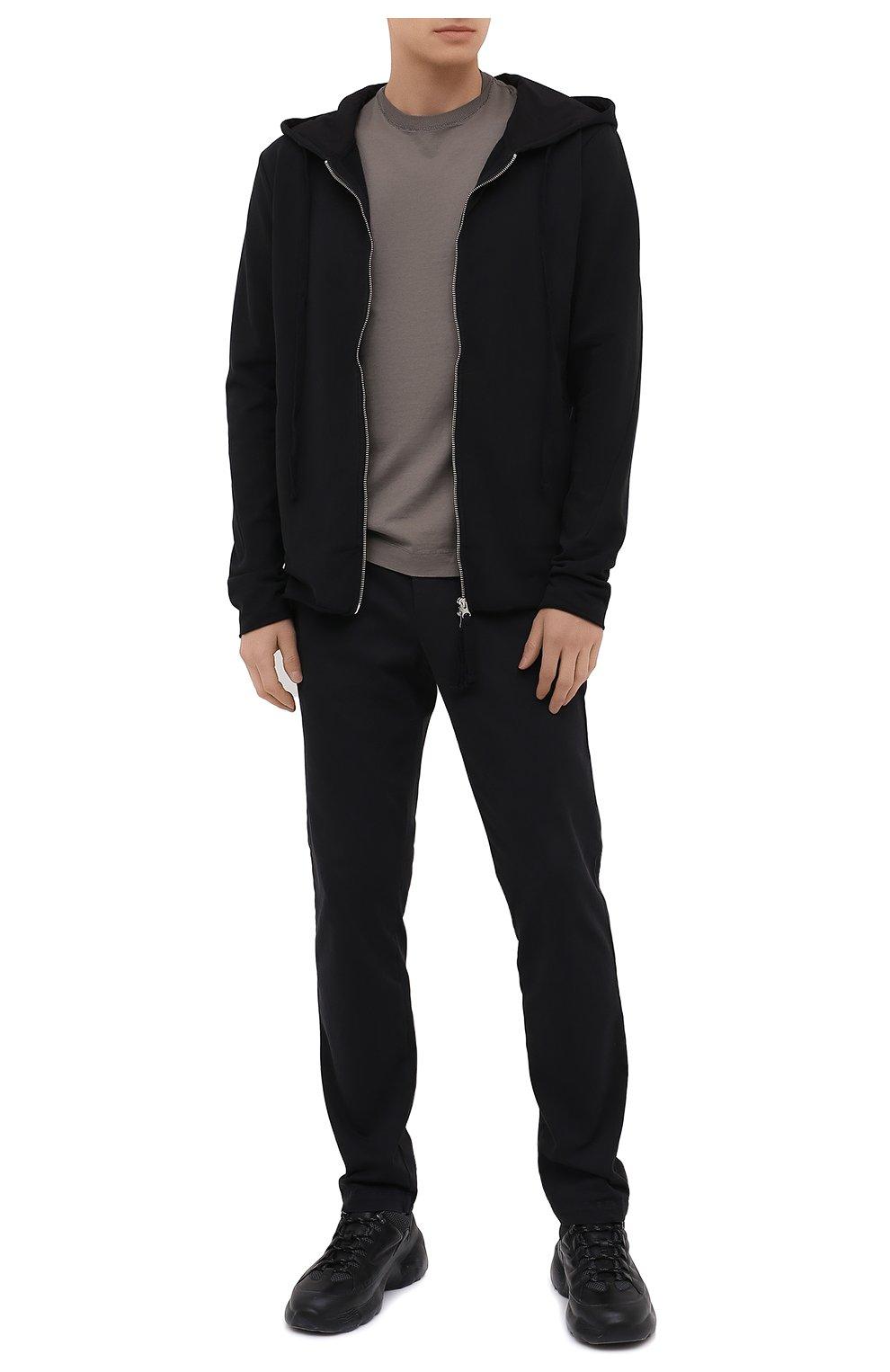 Мужские хлопковые брюки TRANSIT темно-серого цвета, арт. CFUTRMA100   Фото 2 (Силуэт М (брюки): Чиносы; Длина (брюки, джинсы): Стандартные; Случай: Повседневный; Материал внешний: Хлопок; Стили: Кэжуэл)
