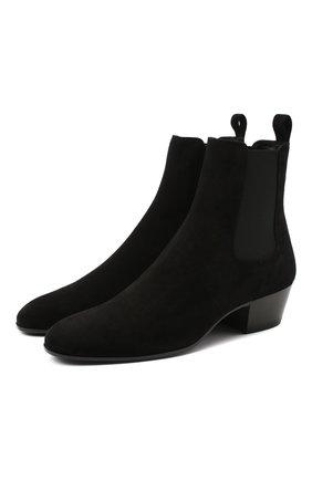 Мужские замшевые казаки SAINT LAURENT черного цвета, арт. 632390/0LI00 | Фото 1 (Материал внутренний: Натуральная кожа; Подошва: Плоская; Мужское Кросс-КТ: Казаки-обувь, Сапоги-обувь; Материал внешний: Замша)