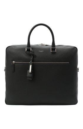 Мужская кожаная сумка для ноутбука SAINT LAURENT черного цвета, арт. 528744/DTI0E | Фото 1