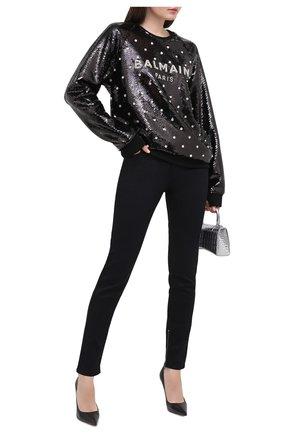 Женская свитшот с пайетками BALMAIN черного цвета, арт. UF13691/P001 | Фото 2