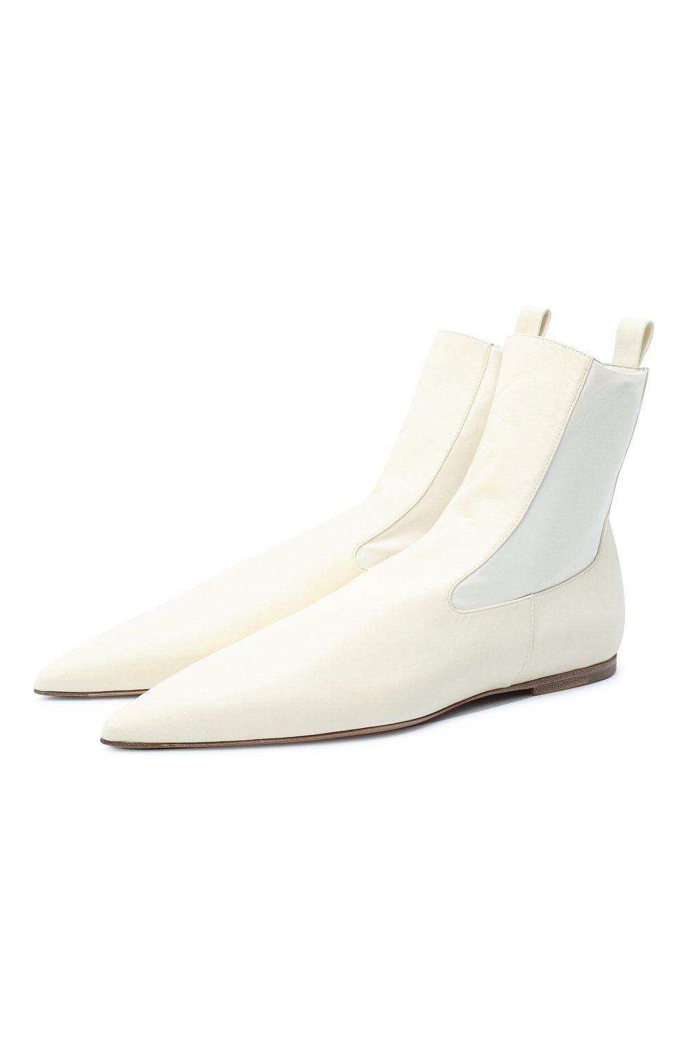 Женские кожаные ботинки JIL SANDER белого цвета, арт. JS35100A-12031 | Фото 1