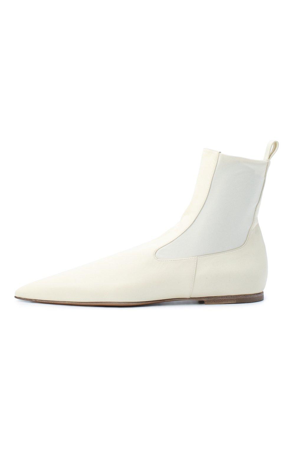 Женские кожаные ботинки JIL SANDER белого цвета, арт. JS35100A-12031 | Фото 3