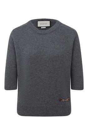 Женский кашемировый пуловер GUCCI серого цвета, арт. 628389/XKBH9 | Фото 1