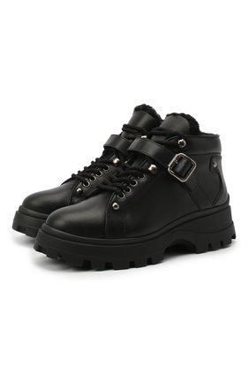 Женские кожаные ботинки MIU MIU черного цвета, арт. 5T692C/3LCX | Фото 1