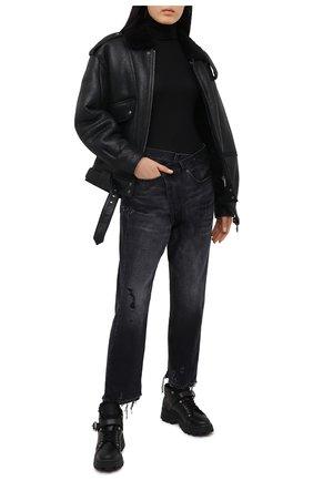 Женские кожаные ботинки MIU MIU черного цвета, арт. 5T692C/3LCX | Фото 2