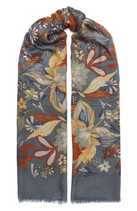 Женская шаль kykuit из кашемира и шелка LORO PIANA синего цвета, арт. FAL3850 | Фото 1